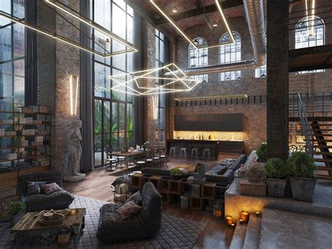 industrial style loft loft living room design with modern industrial style