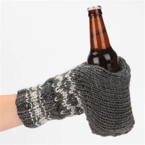 knitted gloves knit glove drink holder the green