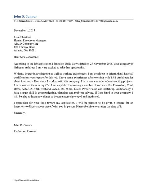 architect cover letter freewordtemplates net