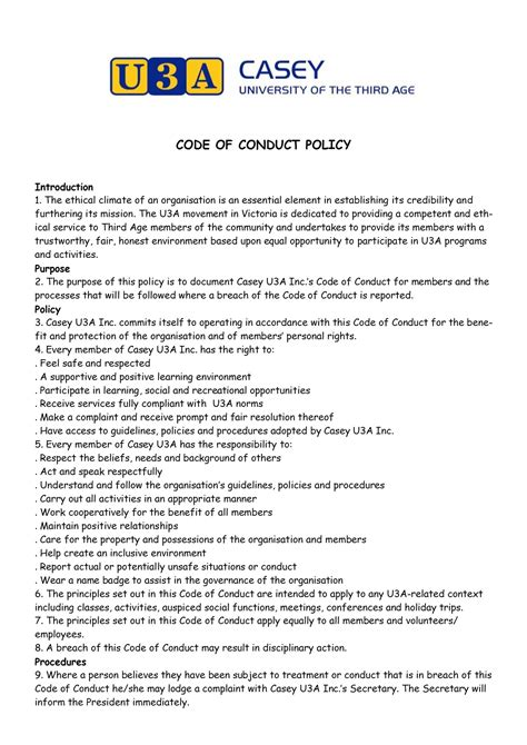 code of conduct policy casey u3a