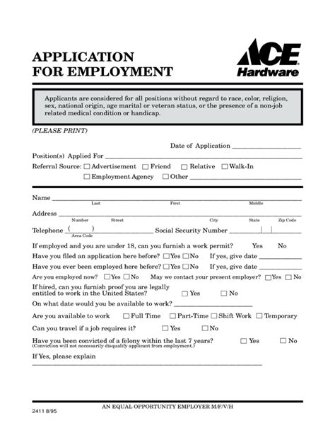 ace hardware employment ace hardware application for employment form edit fill