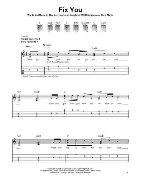 coldplay chords fix you fix you sheet music by coldplay easy guitar tab 80431