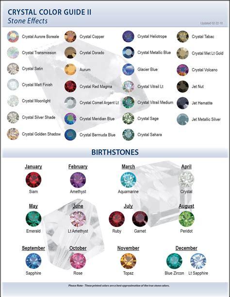 swarovski colors birthstones swarovski color chart ii effect
