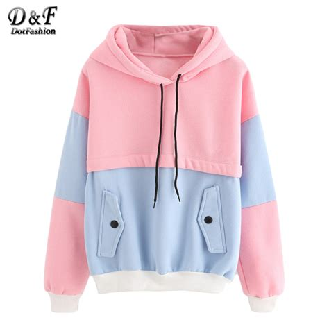 Sleeve Color Block Hooded Top dotfashion color block drawstring hooded tops pink and