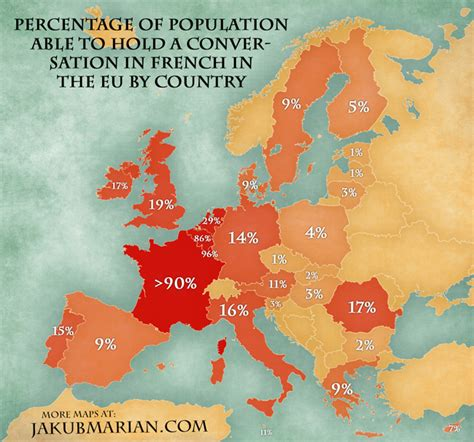 which other countries speak map of the percentage of population able to speak