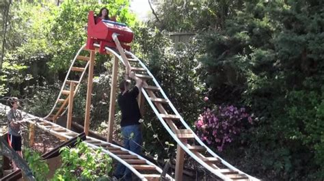 roller coaster in the backyard world s best dad builds amazing backyard roller coaster
