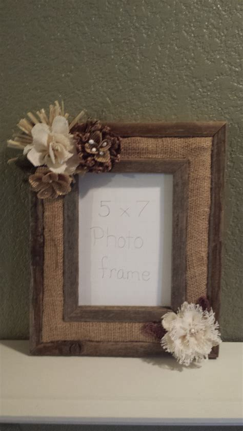 Handmade Wood Picture Frames - barn wood rustic picture frame handmade burlap flowers