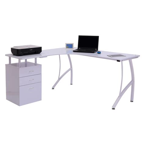 scrivania con cassetti homcom scrivania moderna ad angolo con cassetti in legno