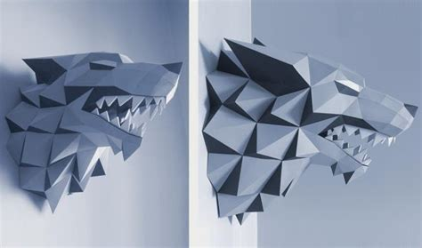 Papercraft Wolf - papermau of thrones stark house wolf sigil