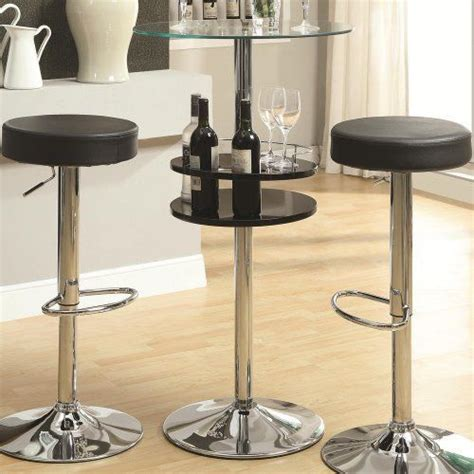 Bar Height Glass Top Table by Black Bar Table Tempered Glass Top Storage Stylish Chrome