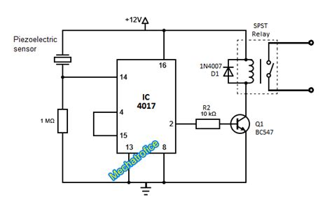 piezoelectric sensor circuit diagram simple touch switch circuit using transistor 4017 555 ic