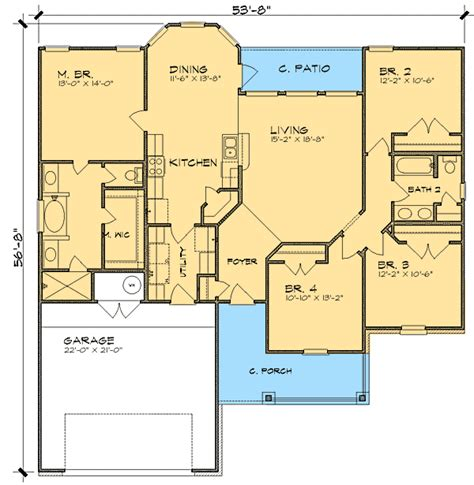 split bedroom ranch house plan 36837jg 1st floor