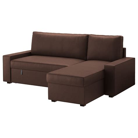 chaise longue bed settee vilasund sofa bed with chaise longue borred dark brown ikea