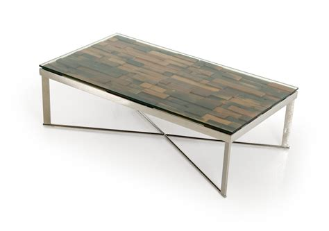 Rectangular Wood Coffee Table by Modrest Santiago Modern Rectangular Wood Mosaic Coffee Table