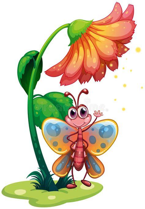 clipart farfalla una farfalla che ondeggia sotto il fiore gigante