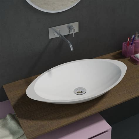 500mm above counter oval solid surface stone wash basin
