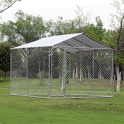 dog house covers pawhut 10 x 10 x 6 outdoor chain link box kennel dog house with cover silver