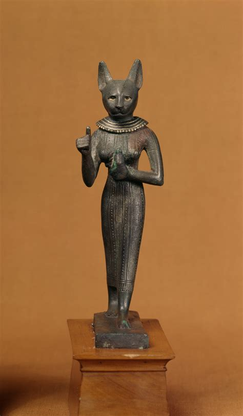 file egyptian statuette of a standing bastet walters