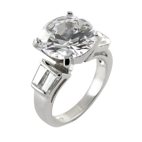 cubic zirconia baguette solitaire engagement ring