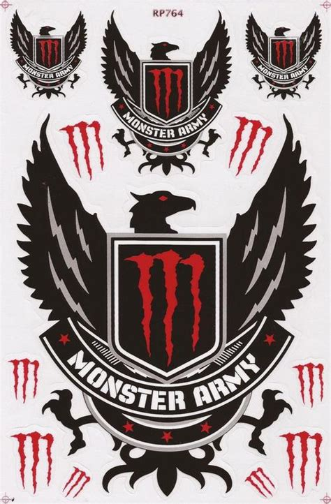 Monster Energy Army Sticker by Other Vinyl Stickers Monster Army Red Black