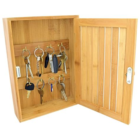 wall mounted key cabinet bamboo wooden 8 hook wall mounted key stotage box cupboard