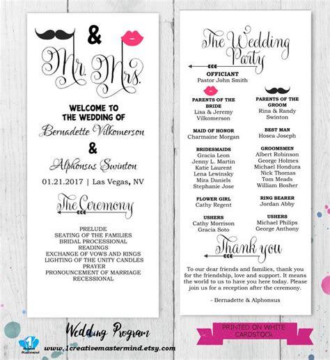 diy wedding program templates diy wedding program template printable editable