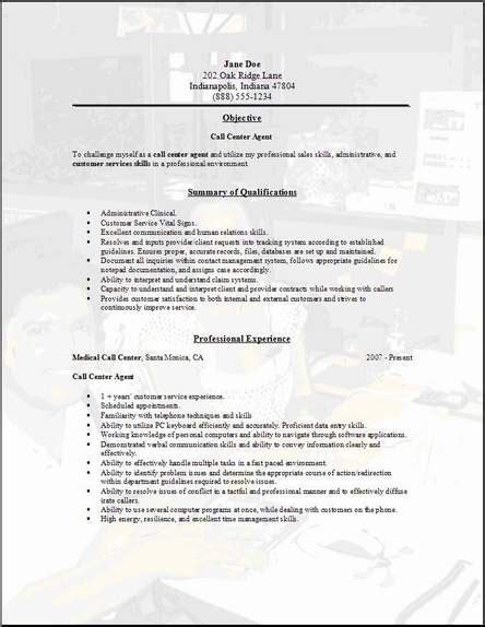 Resume Call Center Objective Call Center Resume Occupational Examples Samples Free