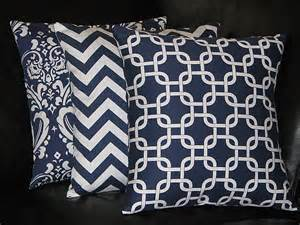 items similar to accent pillows navy blue 20 inch trio