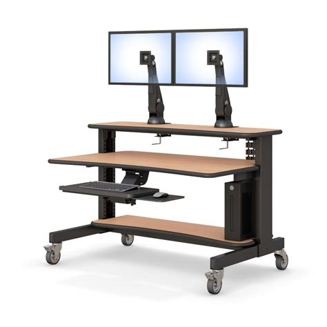 two level computer desk with keyboard tray afcindustries