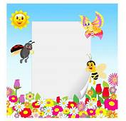 Frame With Insect And Flower Free Vector / 4Vector