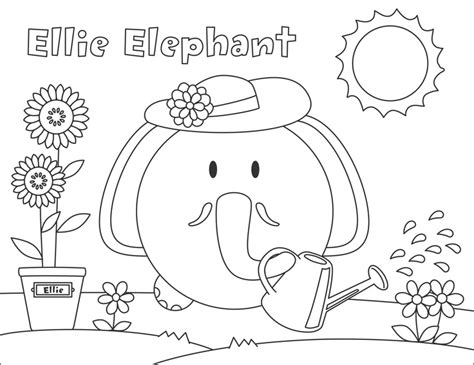 Ellie Elephant Coloring Page | pin by bumpidoodle on activities for the kids pinterest