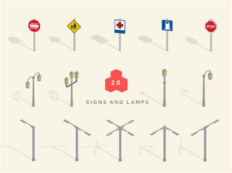 isometric maps signs and lamps Isometric City Map Builder Vector Map Creator