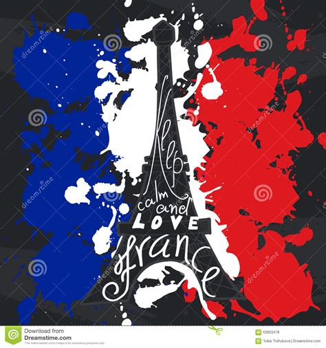 design franc art france graphic typographic card design vector art with