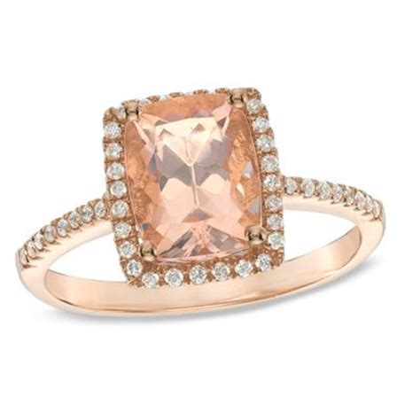 cushion cut morganite and 1 6 ct t w ring in 10k