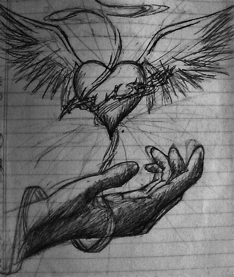 imagenes a lapiz de corazones con alas dibujos de corazones con alas de angel a lapiz imagui