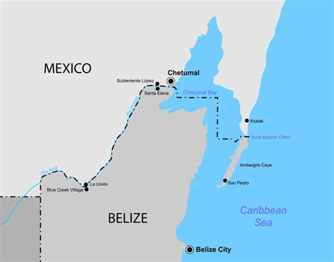 map of mexico and belize belize mexico border