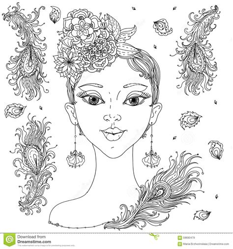 hair dreams coloring book for adults books beautiful fashion stock vector image 59690479