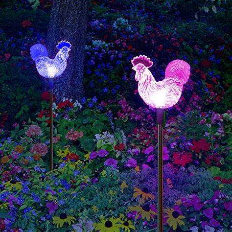decorative solar lights for yard solar rooster thanksgiving decoration garden stake lights