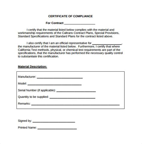 certificate of conformity template free sle certificate of compliance 12 documents in pdf