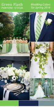 Pantone 2016 spring color green flash and navy blue wedding color
