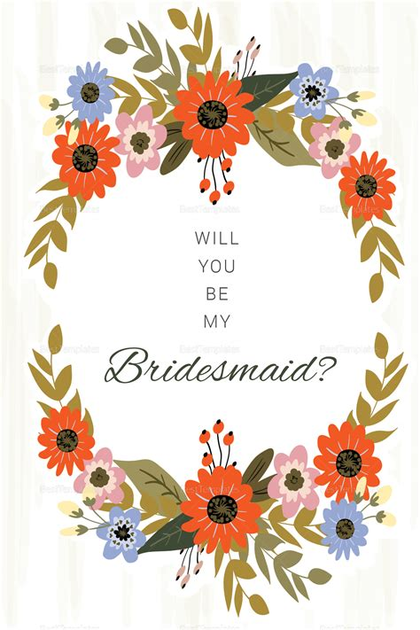 will you be my bridesmaid card word template summer floral wedding will you be my bridesmaid card