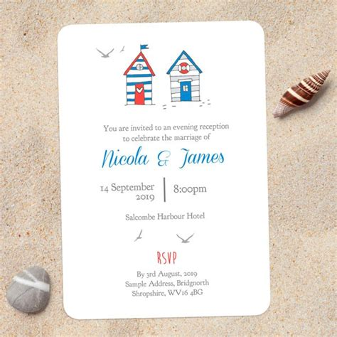 seaside postcard wedding invitations seaside huts evening invitation wedding stationery