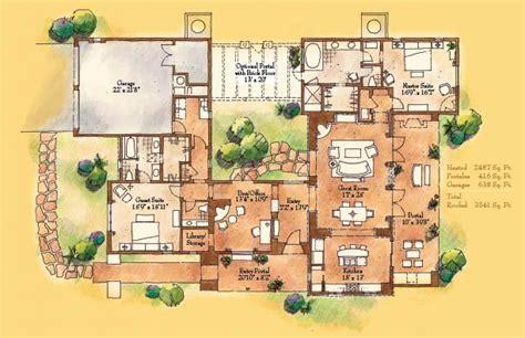 pueblo house plans pueblo style floor plans 2 master suite one great room