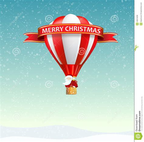 merry christmas banner with santa claus riding hot air