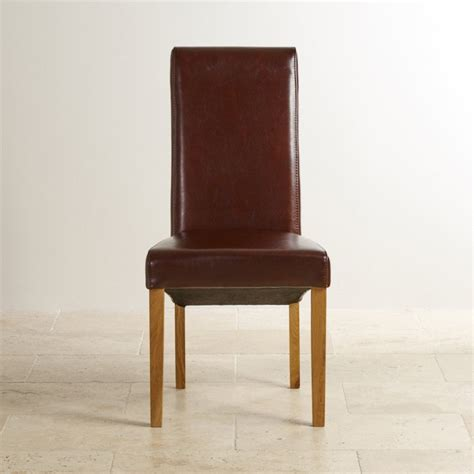 Scroll Back Dining Chair With Oak Legs Brown Leather Scroll Back Dining Chairs