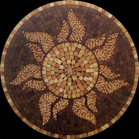Mosaic Floor L Wood Mosaic Hardwood Flooring Sun Medallion 36 Quot Inlay Floor Made Ebay