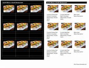 sushi menu template menu word templates free word templates ms word