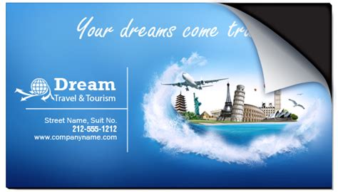 tours and travel business card templates 2x3 5 custom peel and stick travel business card magnets