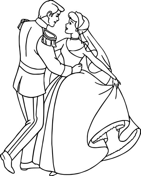 55 coloring pages of cinderella and prince charming