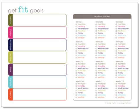printable workout planner planning to get fit design finch